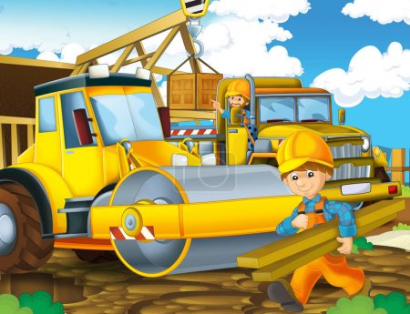 cartoon scene with construction site - workers doing some job - illustration for children