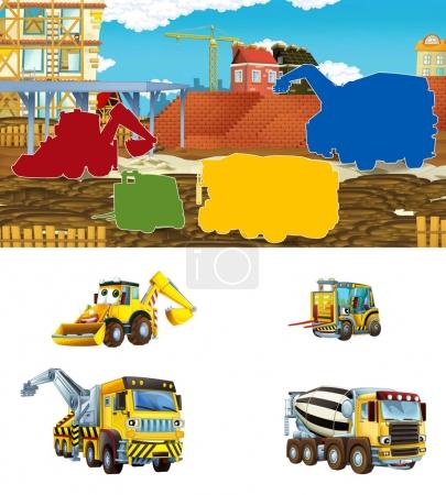 cartoon scene with different construction site vehicles - illustration exercise for for children