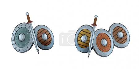 cartoon scene with shields and swords on white background - illustration for children