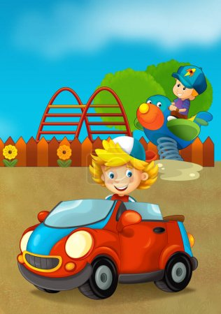 Photo for Cartoon scene with happy and funny kids on the playground and in the car - illustration for children - Royalty Free Image