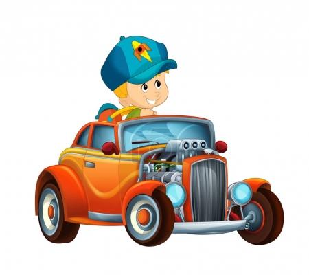 cartoon scene with child - boy in cool looking hod rod car on white background - illustration for children