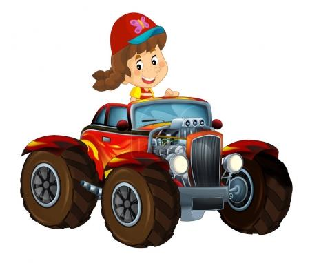 cartoon scene with child - girl in cool looking hod rod car on white background - illustration for children