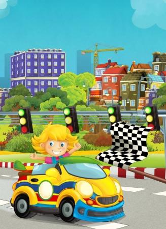 cartoon funny and happy looking child - girl in racing car on race track - illustration for children