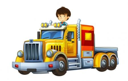 cartoon scene with happy and funny child - boy in cargo truck without trailer - illustration for children