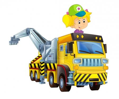 cartoon scne with happy and funny child - girl in tow truck on white background - illustration for children