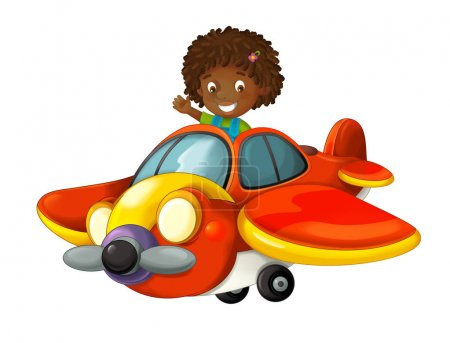 cartoon happy scene with kid in toy traditional plane with propeller flying - illustration for children
