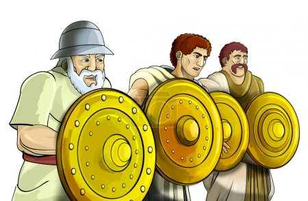 cartoon scene with roman or greek ancient characters on white background - illustration for children