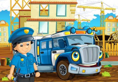 Cartoon stage with machine for police duty and policeman - colorful and cheerful scene - illustration for children