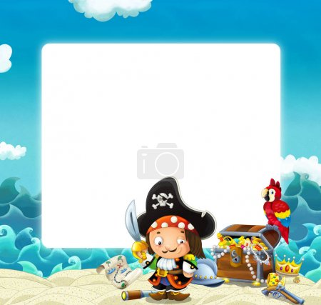 Water / wave frame with fighting pirate - illustration for children