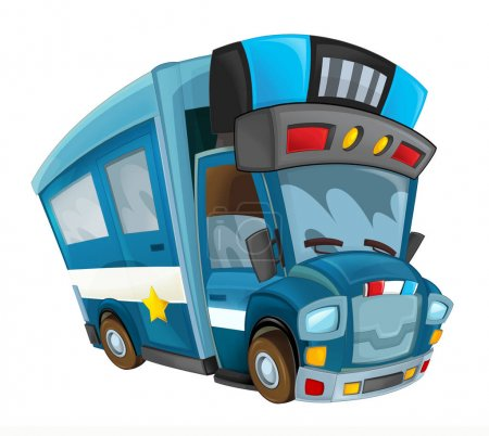 cartoon funny looking cargo police truck with trailer on white background - illustration for children