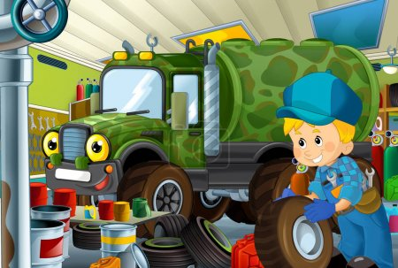 cartoon scene with garage mechanic working repearing some vehicle - military car - or cleaning work place - illustration for children