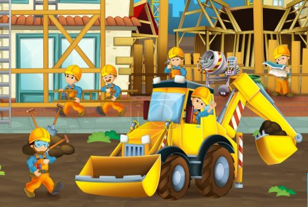 Photo for Cartoon scene with men working doing industrial jobs - illustration for children - Royalty Free Image