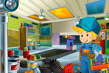 Photo for Cartoon scene with mechanic in the garage working - illustration for children - Royalty Free Image