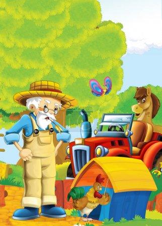 Foto de Dibujos animados feliz nad escena de granja soleada con tractor para diferentes usos - ilustración para los niños - Imagen libre de derechos