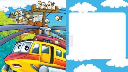 Photo pour Scène de dessin animé avec paysage urbain avec hélicoptère volant ou atterrissant avec cadre pour texte - illustration pour enfants - image libre de droit