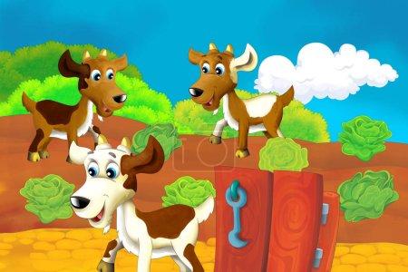 Photo pour Scène de ferme de bande dessinée avec chèvre animale s'amusant illustration pour les enfants - image libre de droit