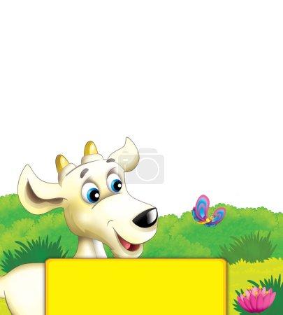 Photo pour Scène de ferme de bande dessinée avec chèvre animale s'amusant sur fond blanc illustration pour les enfants - image libre de droit