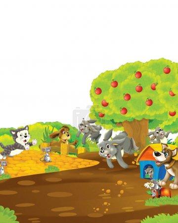 Foto de Escena de dibujos animados con conejo en una granja divirtiéndose sobre fondo blanco - ilustración para niños - Imagen libre de derechos