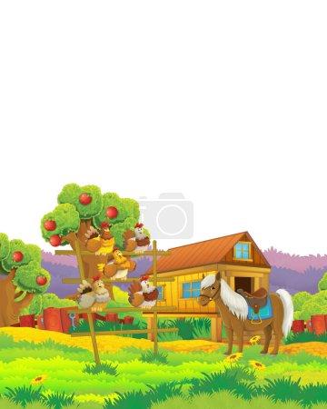 Scène de ferme de bande dessinée avec oiseau de poulet animal s'amusant sur fond blanc avec espace pour le texte - illustration pour les enfants