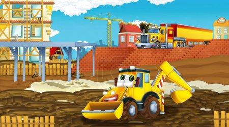 Photo pour Scène de dessin animé avec des voitures de l'industrie sur le site de construction illustration pour les enfants - image libre de droit