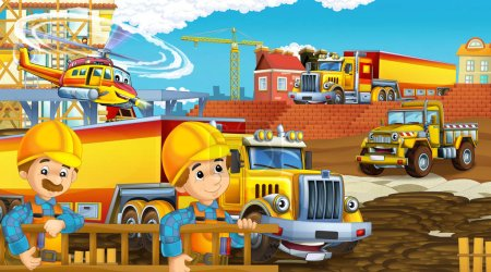 Photo for Cartoon scene with industry cars on construction site and flying helicopter - illustration for children - Royalty Free Image