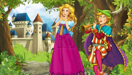 Photo for Cartoon nature scene with beautiful castle near the forest and princess - illustration - Royalty Free Image