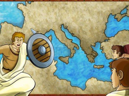 Foto de Mapa de dibujos animados escena con carácter griego o romano o comerciante comerciante con ilustración del mar mediterráneo - Imagen libre de derechos