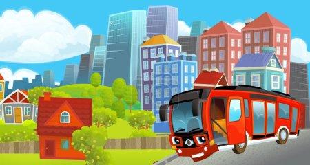 Photo pour Dessin animé scène joyeuse et drôle du milieu d'une ville avec bus passant par - illustration pour les enfants - image libre de droit