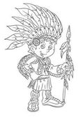 cartoon american indian standing with spear