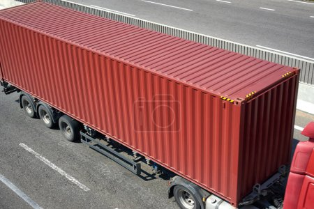 Photo for Red container and truck on road top view, cargo transportation and shipping concept - Royalty Free Image