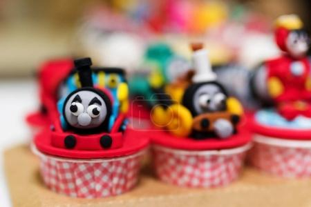 cupcake with Thomas train model
