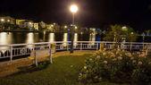Sapa City near lake at night
