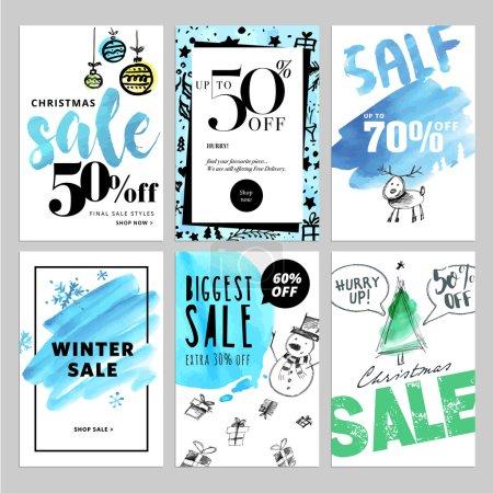 Illustration pour Illustrations vectorielles de bannières de sites d'achats en ligne et de sites Web mobiles, affiches, dessins de bulletins, annonces, coupons, bannières de médias sociaux . - image libre de droit