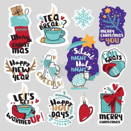Winter social media stickers set