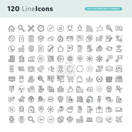 Set of premium concept icons for social network and e-commerce