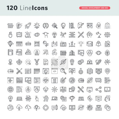 Set of premium vector thin line icons for design, development and seo