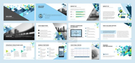 Illustration for Set of vector infographic elements for presentation slides, annual report, business marketing, brochure, flyers, web design and banner, company presentation. - Royalty Free Image