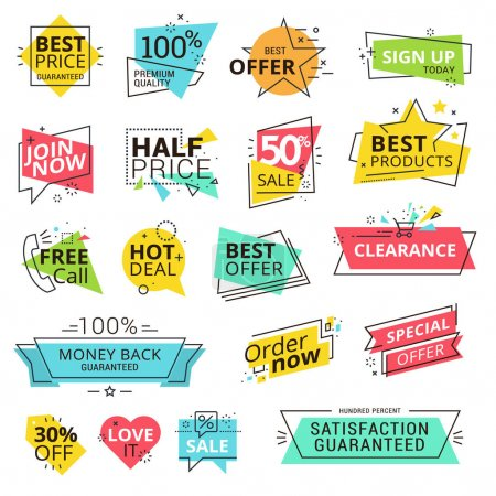 Illustration for Modern vector illustration labels for shopping, e-commerce, product promotion, social media stickers, marketing. - Royalty Free Image