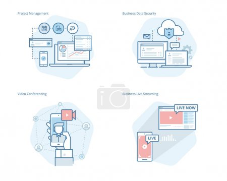 Set of concept line icons for project management, business data security, video conferencing, business live streaming