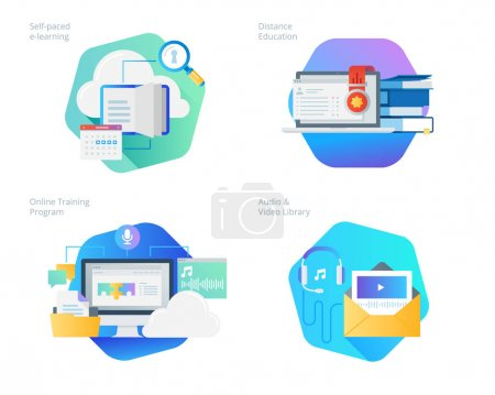 Material design icons set for distance education, audio and video library, online training and courses, self-paced e-learning