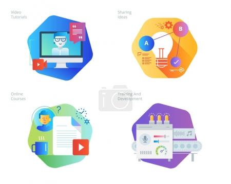 Material design icons set for education, video tutorials, online courses, training and development, sharing ideas.
