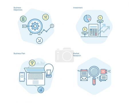 Set of concept line icons for business plan and objectives, market research, investment