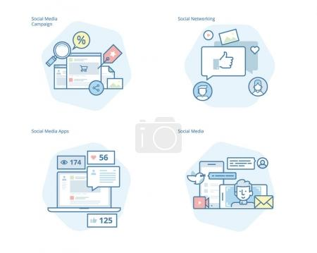 Set of concept line icons for social media, networking, marketing, campaign and apps
