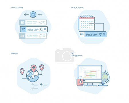 Set of concept line icons for time manager, news and events, meetup, task management, time tracking