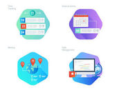 Material design icons set for time manager news and events meetup task management time tracking