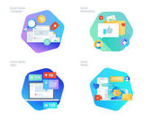 Material design icons set for social media networking marketing campaign and apps
