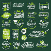 Set of labels and badges for organic food and drink restaurant food store