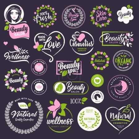 Illustration for Vector illustrations for natural cosmetics, healthcare, organic products, spa, wellness, beauty and healthy life, body and skin care and makeup. - Royalty Free Image