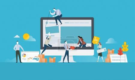 Illustration for Vector illustration concept for web banner, business presentation, advertising material. - Royalty Free Image