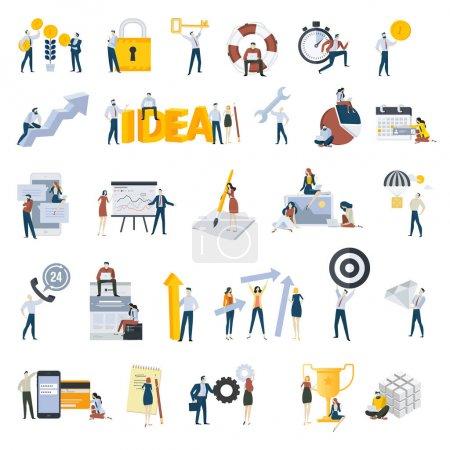 Illustration pour Flat design gens concept icônes isolées sur blanc. Ensemble d'illustrations vectorielles pour les entreprises et les finances, le travail d'équipe, la gestion de projet . - image libre de droit
